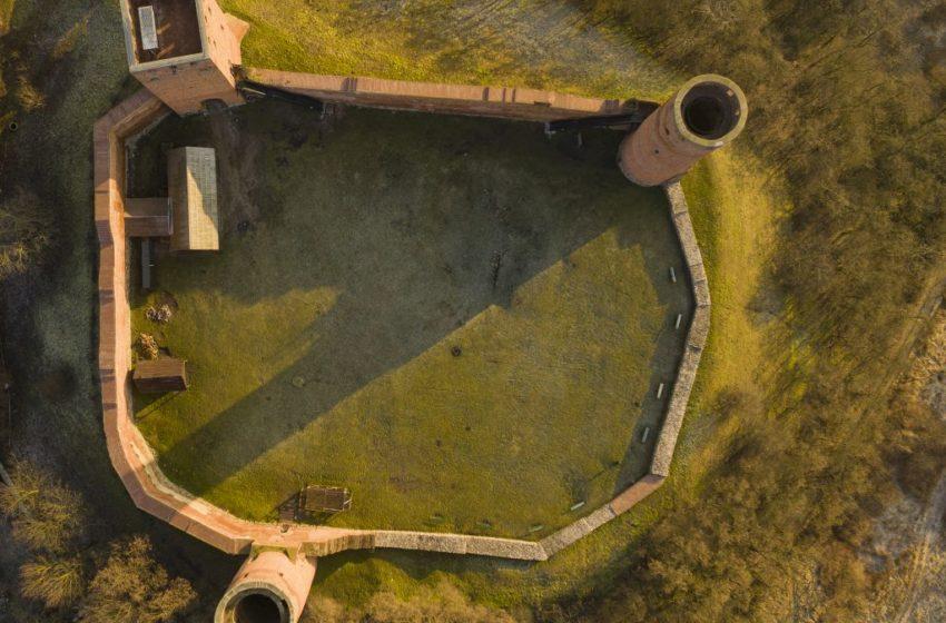 Zamek w Czersku z lotu ptaka
