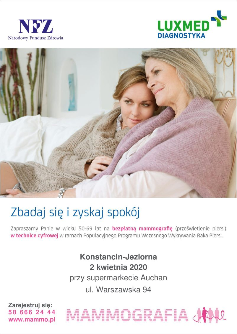 Bezpłatna mammografia w Konstancinie-Jeziornie