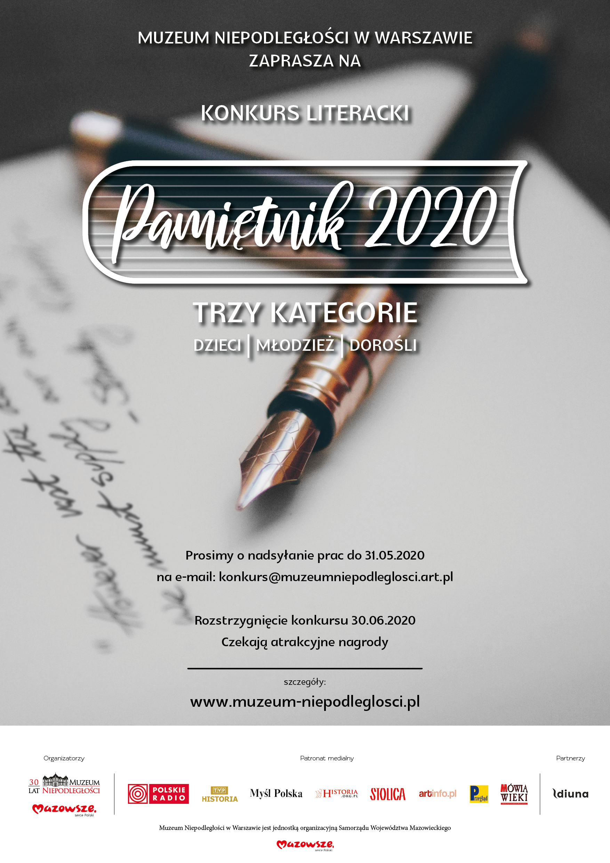 """Konkurs """"Pamiętnik 2020"""" - plakat"""
