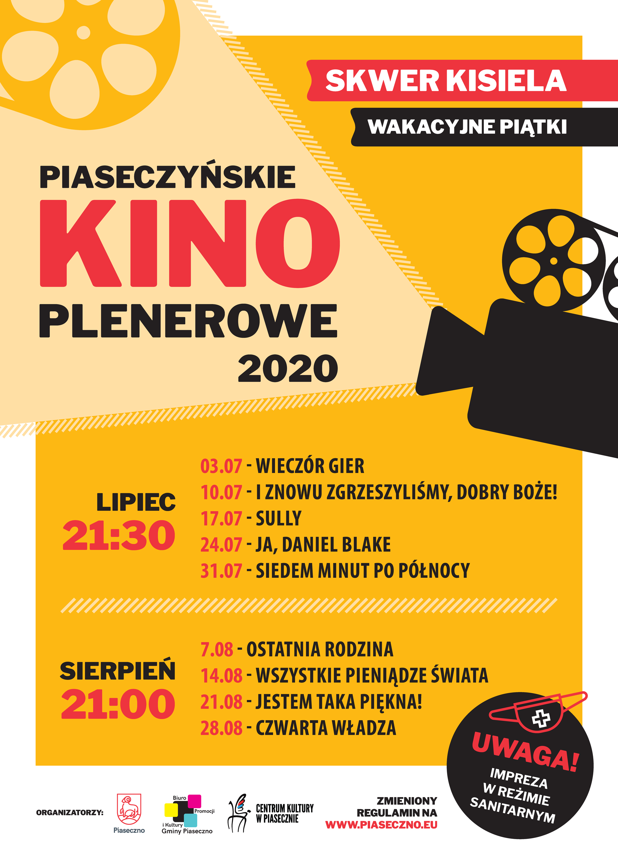 piaseczynskie kino plenerowe 2020 -plakat